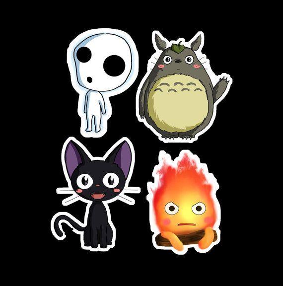 Partagez votre amour du Studio Ghibli avec ces autocollants chibi adorable.  Autocollants disposent de chibi caractères de Jiji (Service de livraison
