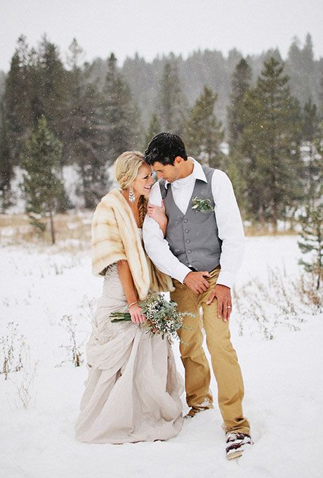 Throw on a fur stole and some boots to get a perfect picture | @benjhaisch | Brides.com