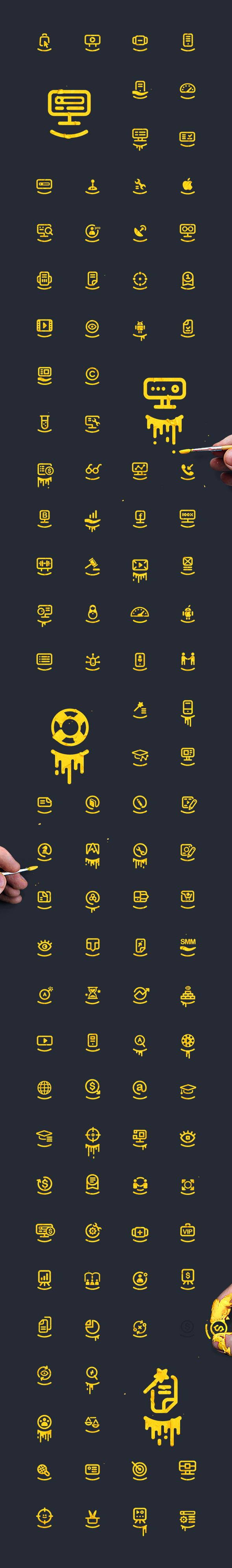 More than a hundred smiling icons on Behance