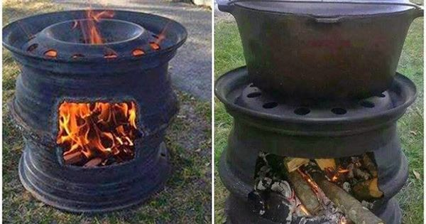 How To Make Your Own Fire Pit BBQ Out Of Car Wheel Rims.