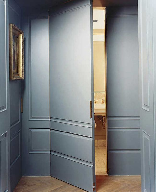 Secret Spaces:  Hidden Doors in  Paneled Walls. Use industrial touch latches so handles not required