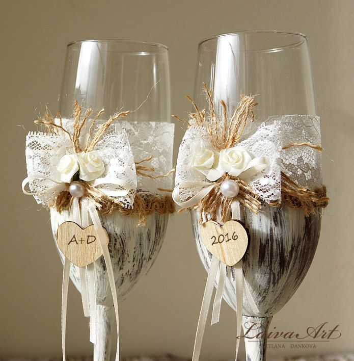 Wedding Champagne Flutes Toasting Glasses Rustic Toasting Flutes Wedding Champagne Flutes Bride and Groom Wedding Glasses  - pinned by pin4etsy.com
