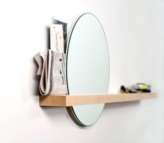 "SALE ITEM Rise/Set Mirror, 14"" round mirror and solid wood shelf"