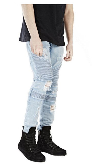 MCCKLE Hi-Street Mens Ripped Rider Biker Jeans Motorcycle Slim Fit Washed Black Grey Blue Moto Denim Pants Joggers Skinny Men