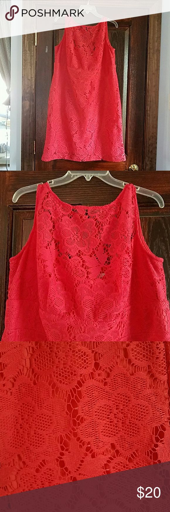 Coral sun dress Crochet coral sundress with illusion neckline, knee length, new used !! studio 1 Dresses