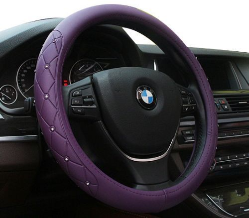 Universal Luxury Purple PU Leather Vehicle Car Steering Wheel Cover
