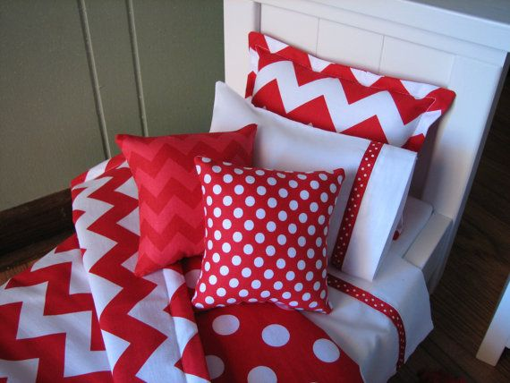 Red Chevron Bedding Set for American Girl Doll by MadiGraceDesigns, $27.00