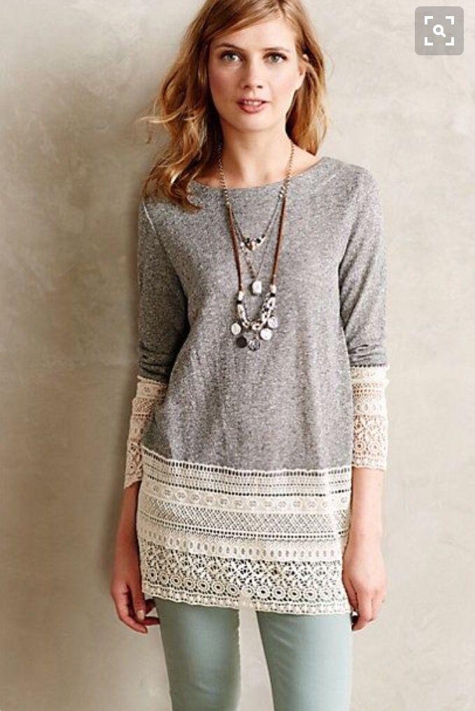 Try stitch fix! Cute tunic top. Lace bottom. Stitch fix ideas