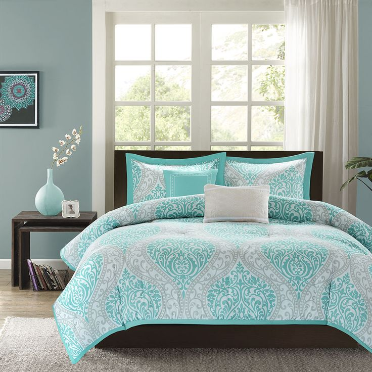 BEAUTIFUL MODERN CHIC AQUA TEAL LIGHT BLUE GREY COMFORTER SET FULL QUEEN TWIN