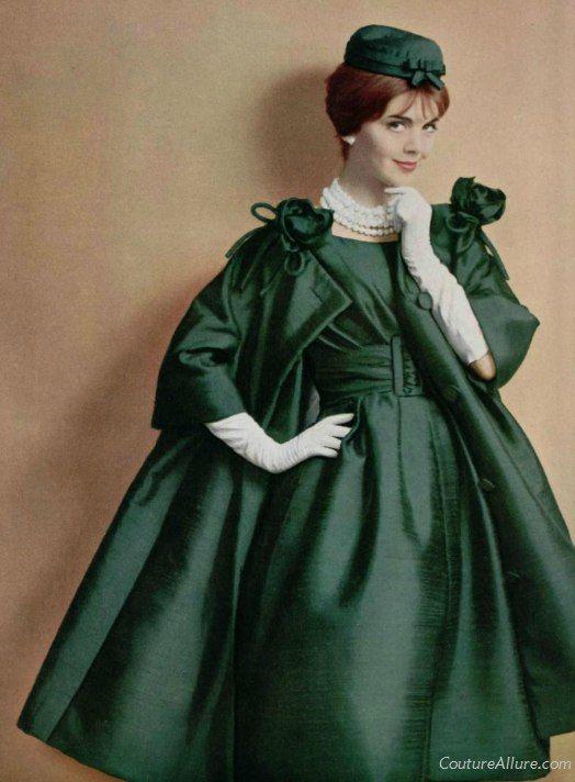 Dior Emerald Silk Dress And Coat 1959 Vintage Dior