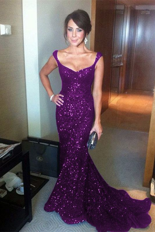 Sparkly Purple Sequin V-neck Mermaid Evening Gowns Court Train Prom Dress  2019 b5236e358495