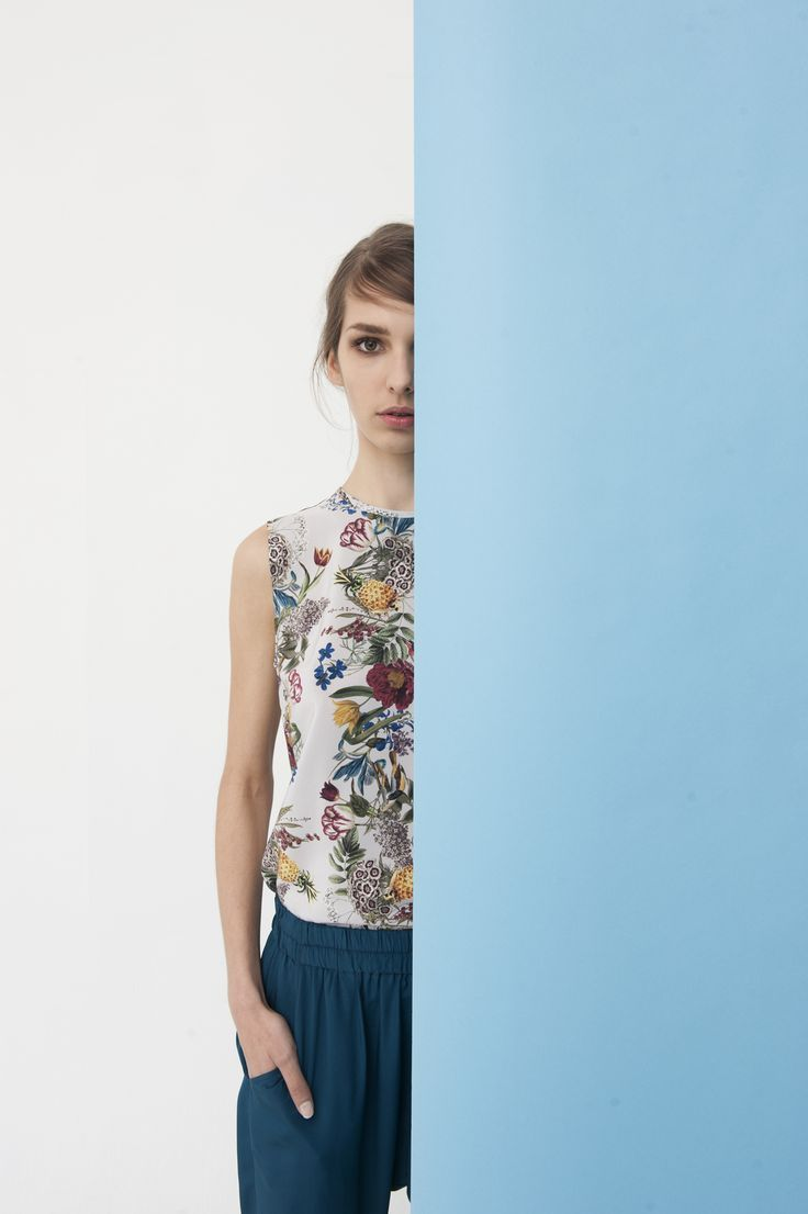 + Lisbon Sleeveless Tee, Botanical Print  + Sidewalk Silk Pants, Petrol Blue