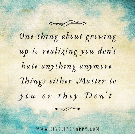 One thing about growing up is realizing you don't hate anything anymore. Things either matter to you or they don't.