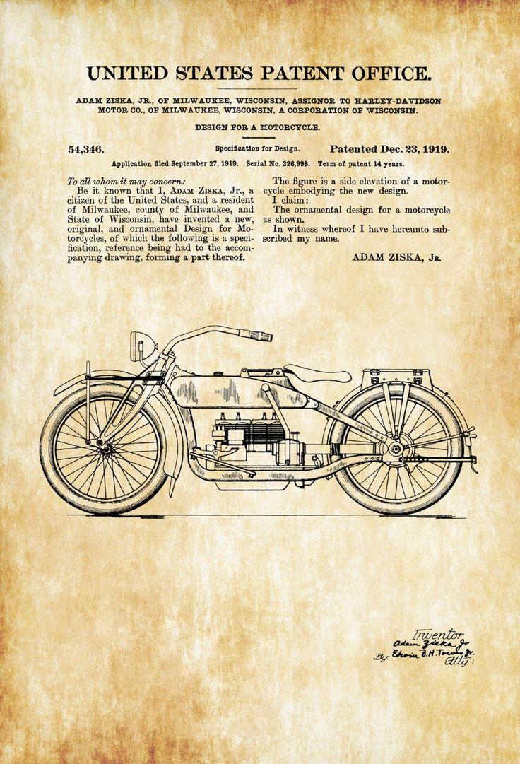 Harley Davidson Design Patent 1919 - Patent Print, Wall Decor, Motorcycle Decor, Harley Davidson Art, Harley Patent, Harley Bike - myPatentPrints #patentdrawing