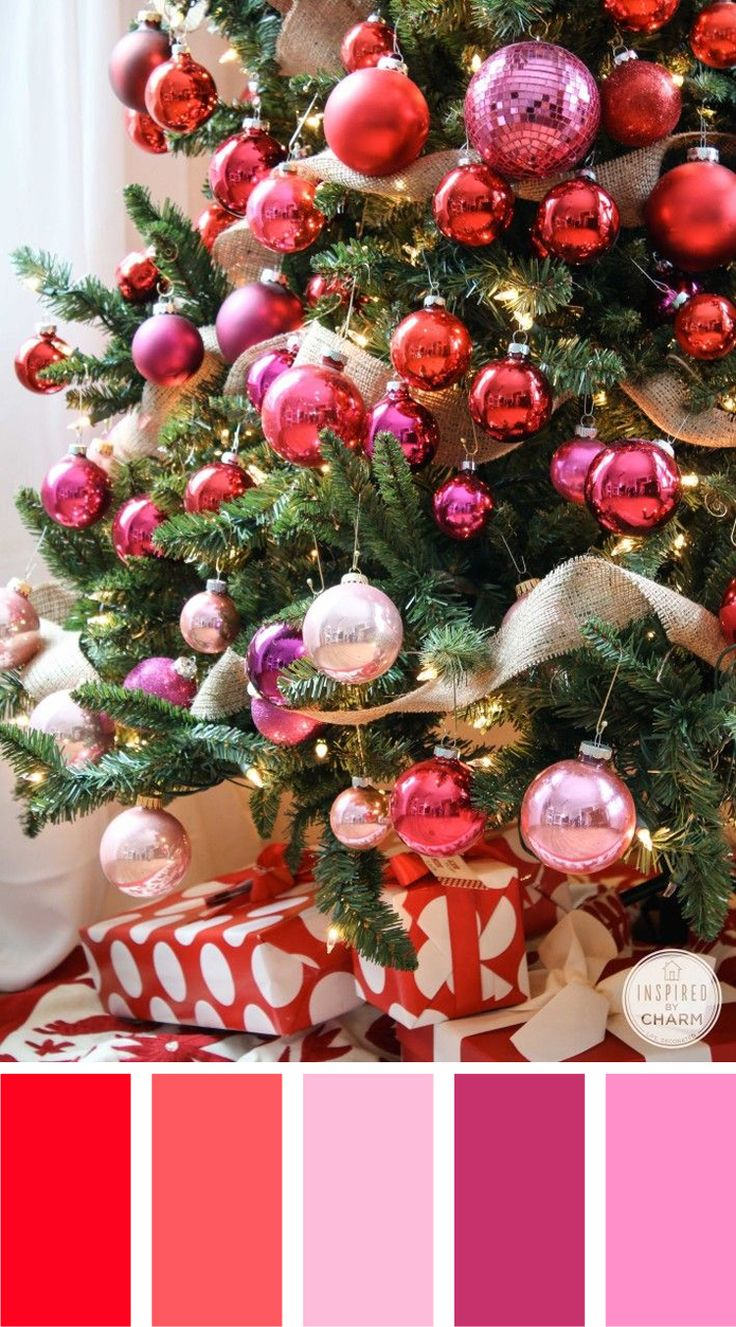 Red and silver christmas tree decorations - Christmas Color Palettes Colorful Christmas Treechristmas Colorsred