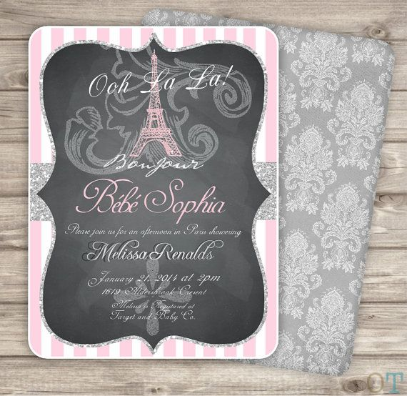 17 best baby shower invitations images on pinterest baby shower paris baby shower invitation printable eiffel tower pink silver baby shower chalk board princess damask strip filmwisefo