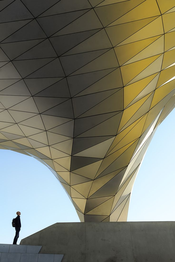 Impressed! - Looking at a structure of Musee des Confluences in Lyon, France.