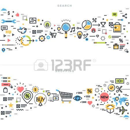 分析: フラット ライン デザインのベクトル検索結果、seo、情報検索、コンテンツ解析、ショッピング、e-コマース、ウェブサイトのバナーとリンク先ページの小売りショ  イラスト・ベクター素材