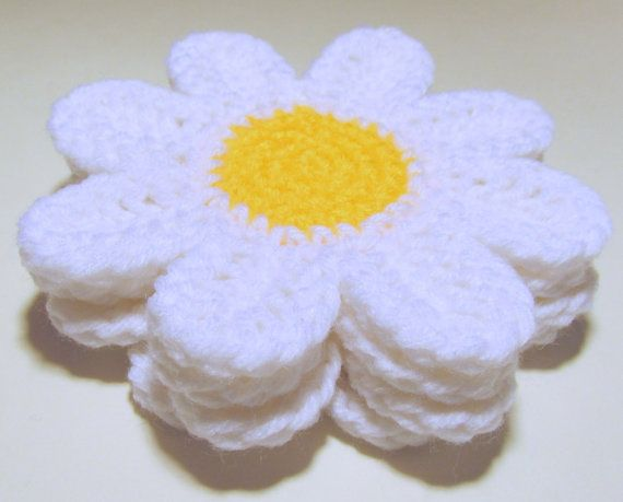 Daisy Coasters PDF Crochet Pattern INSTANT DOWNLOAD by HGSDesigns