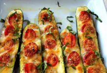 Κολοκυθάκια με ντοματίνια,τριμμένο τυρί και βασιλικό(1 μονάδες)