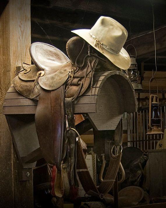 Western Horse Saddle and Cowboy Hat  a Still by RandyNyhofPhotos, $12.00