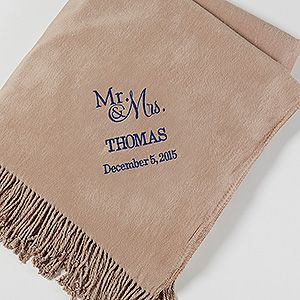 Create lasting Wedding memories with the Embroidered Wedding & Anniversary Throw Blanket - Taupe. Find the best personalized wedding gifts at PersonalizationMall.com