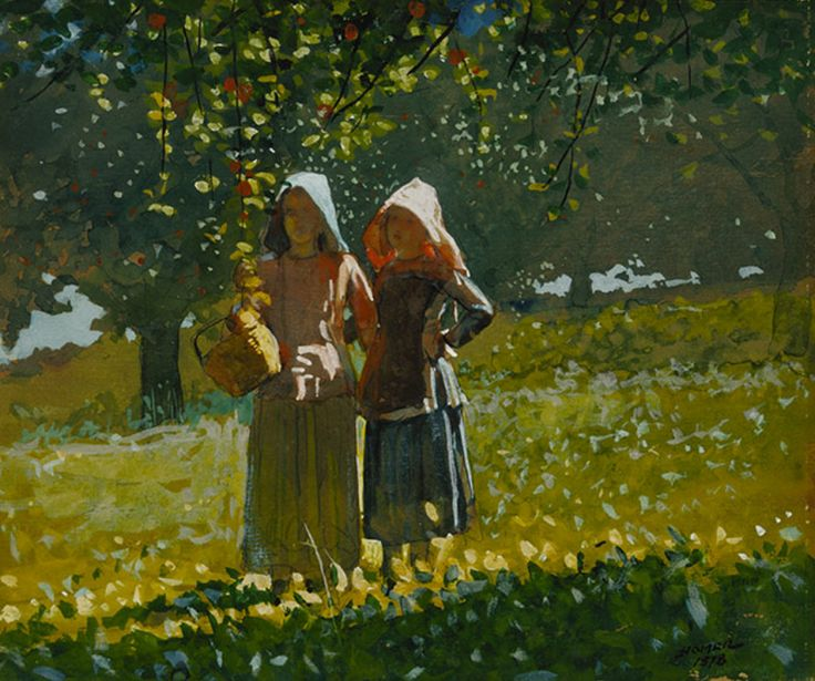 """Watercolor that Wows   Winslow Homer, """"Apple Picking,"""" 1878, watercolor and gouache on paper, © Terra Foundation for American Art, Chicago"""