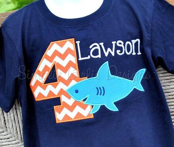 Shark birthday shirt. Personalized. Sizes 12m to 5T. Other shirt colors and sizes available. on Etsy, $23.00