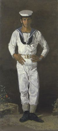 Yannis Tsarouchis / Sailor in the sun  Paris, 1968-1970  Oil on cloth,  223.5 x 104 cm