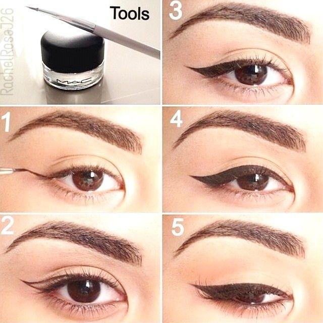 Perfet cat eye eyeliner #makeup #tutorial #maquiagem #gato #evatornadoblog Идеальная стрелка на глазах - урок макияжа