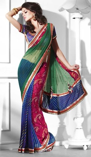 A green blue and pink combination net and georgette saree with a multi band shimmer border.  http://www.facebook.com/photo.php?fbid=250457471741593=a.251800488273958.59960.239592109494796=3