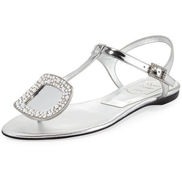 Roger Vivier Chips Strass Buckle Flat Sandal ($875) ❤ liked on Polyvore featuring shoes, sandals, grey, grey sandals, grey flats, ankle strap sandals, buckle sandals and flat pumps #rogerviviersandals #rogervivierpumps