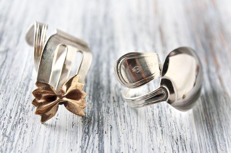 Anelli realizzati con posate in argento e bronzo