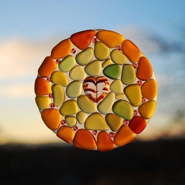 Beach glass sun catcher with pink heart