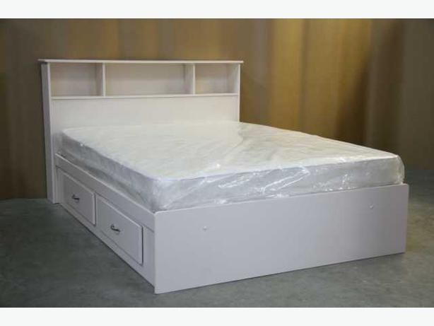 white queen size captains bed frame and headboard brand new