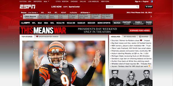 ESPN:  Internet Site, Red Website, Web Site, Website Inspiration