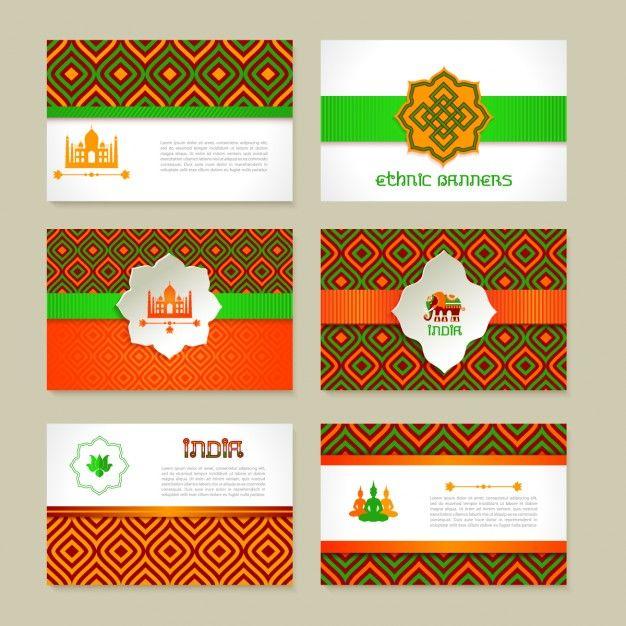 Conjuntos de banners étnicos de la india Vector Gratis
