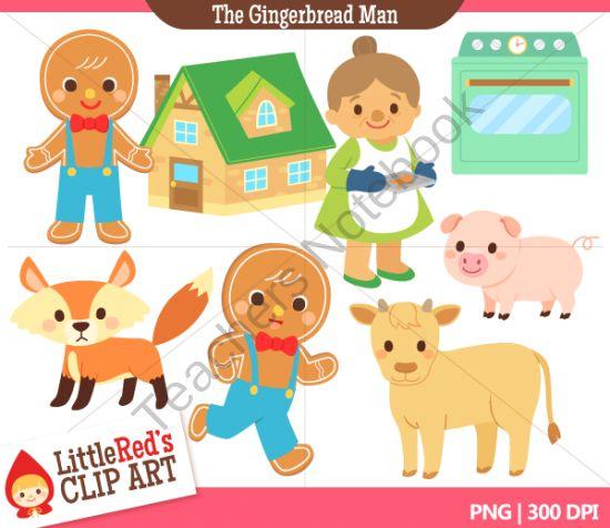 Clip Art - Gingerbread Man - Fairy Tale Clipart product from Little-Reds-Clip-Art on TeachersNotebook.com