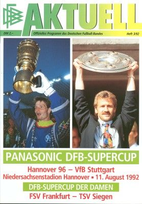 VFB Stuttgart 3 Hannover 96 1 in May 1992 at the Nieder Stadion. The programme cover for the DFB German Supercup.