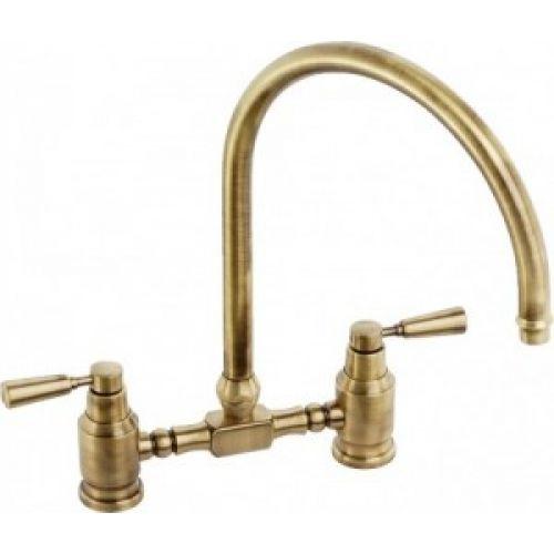 Abode Hargrave Swan Neck Bridge Kitchen Sink Mixer Tap Brushed Nickel
