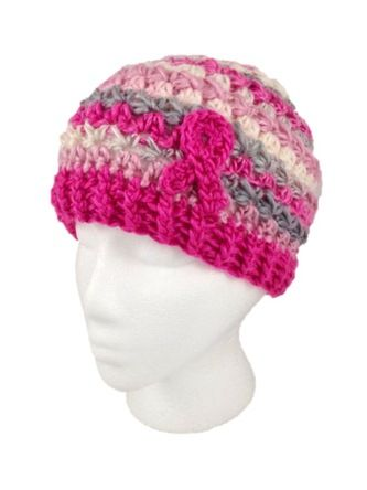 Breast Cancer Awareness Beanie - Free Pattern Uses star stitch