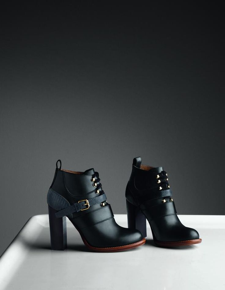 "Chloé Winter 2014 Accessories ""Bernie"" 10cm laced ankle boot in smooth calfskin & lizard CH21543-IA999 BLACK"
