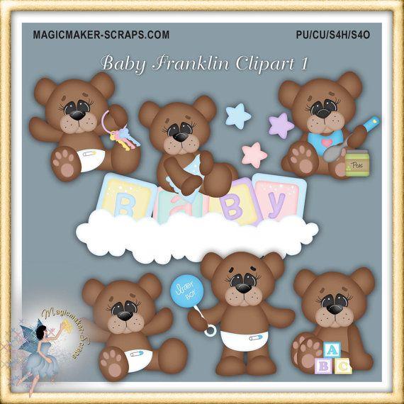 Baby clipart Teddy Bears for Boys Digital por MagicmakerScraps