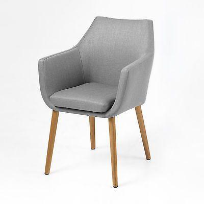 Details Zu Stuhl Nora Esszimmer Armlehnenstuhl Sessel In Vintage Stoff  Hellgrau Beine Eiche