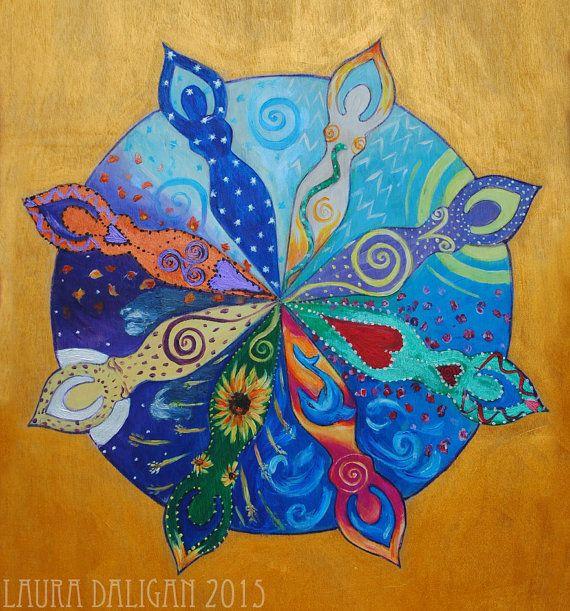 Goddess Wheel of the Year Mandala   A3 Print door LauraRedWitch