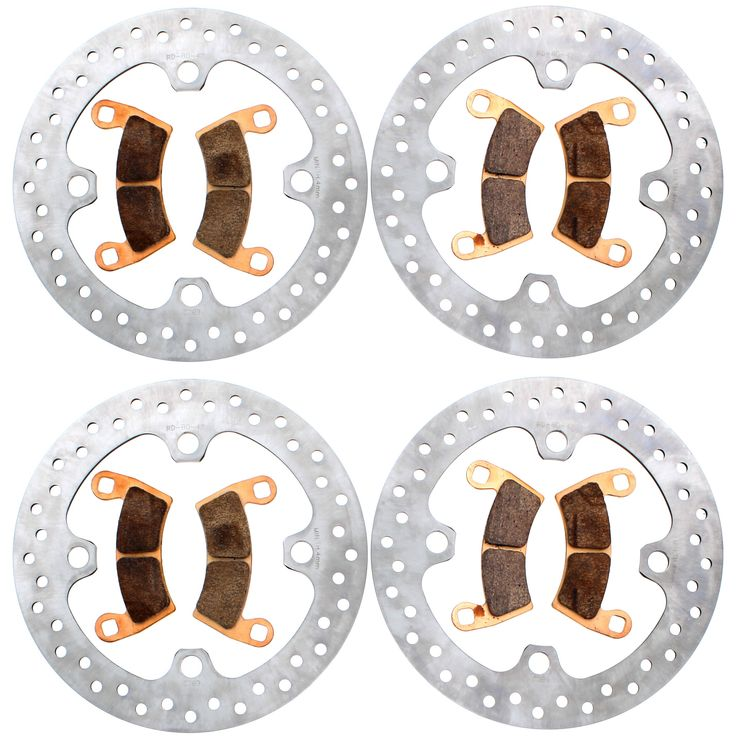 2016-17 Polaris 1000 RZR XP 4 EPS High Lifter Front & Rear Brake Rotors & Pads, Silver stainless steel