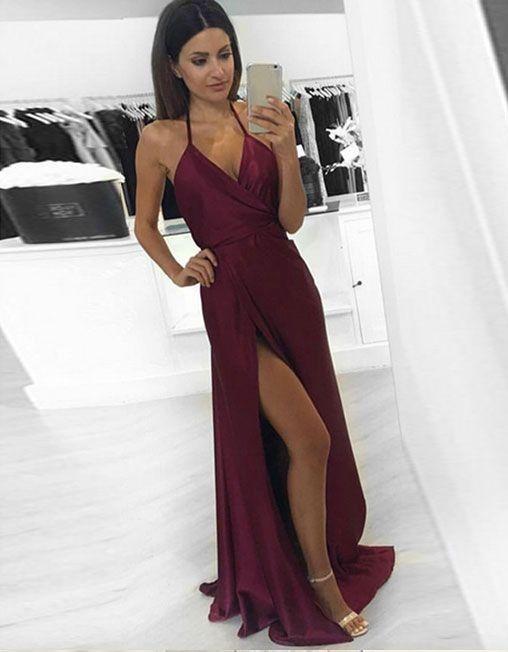 Simple V Veck Burgundy Long Prom Dress, Sexy Backless Party Dress, Sexy Evening Dress, Slit Prom Dress, Burgundy Formal Dress for Teens