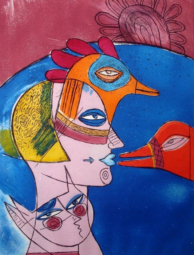 Corneille (1922-2010)--In alle toonaarden en technieken is Corneille's werk uitgevoerd - keramisch, in hout of textiel, op wijnetiketten, kalenders of pennen. In alle gevallen betreft het de ware Corneille met thema's als zon, maan, kat, vissen, vogels, het kind en per definitie de vrouw in alle bekoorlijkheid.