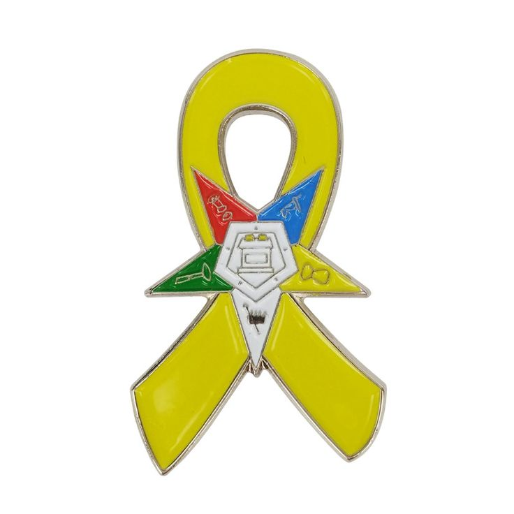 Support Our Troops Awareness Eastern Star OES Yellow Ribbon Lapel Pins