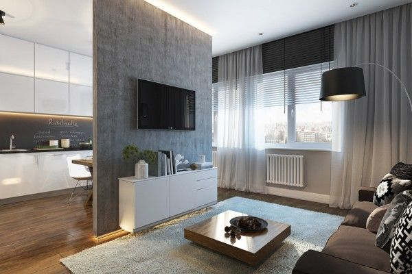 This studio from visualizer Inna Usubyan measures 32 square meters (344 square feet) and works largely in shades of grey. The Moscow apartment was created for a young couple with no children, as a studio space may make an infant difficult. The space takes on privacy by hiding the bed behind a heavy curtain while still leaving space for entertaining.